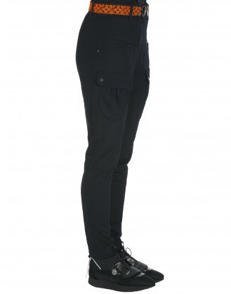 "STASH: Navy tech ""cargo"" pants"