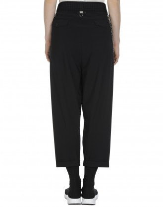 HASTEN: Black pleated front pant