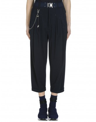 HASTEN: Navy pleated front pant