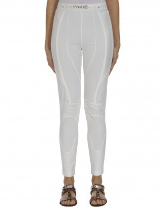 CONTROL: White multi-panel ergonomic leggings