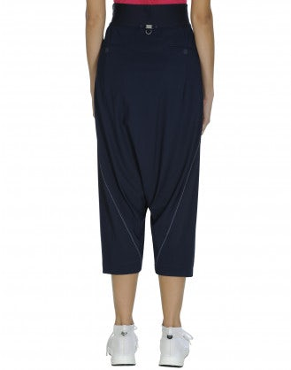 CONTRARY: Royal blue wrap-over side zip pants