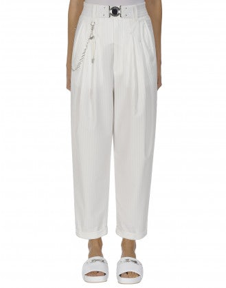 HASTEN: White pinstripe pleated front pant