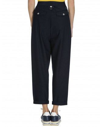 HASTEN: Lurex pinstripe pleated front pant