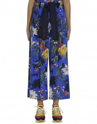 PERPETUAL: Blue ground floral cropped pants