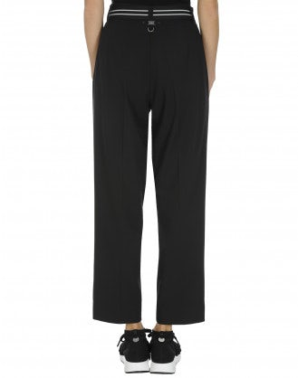 """RATIONALE: Straight leg pant in soft black tech """"canvas"""""""