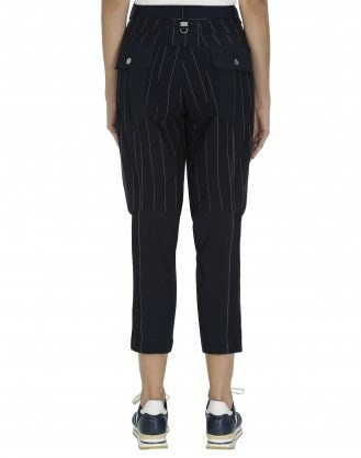 IN-MOTION: Tapered leg pant in plain and pinstripe navy