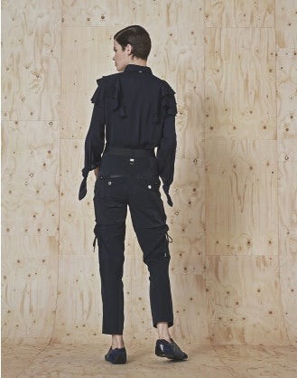 BETIDE: Tapered leg pant in stretch twill, jersey and satin