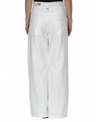 """BOUNDARY: Pantaloni bianchi a campana in stile """"jeans"""""""