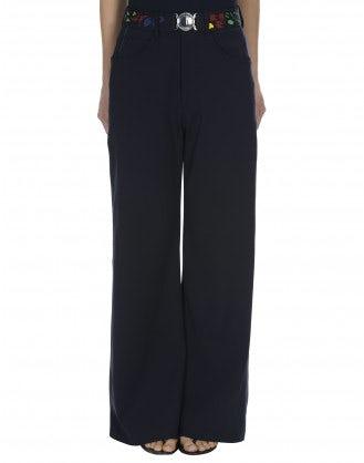 """BOUNDARY: Pantaloni blu navy a campana in stile """"jeans"""""""