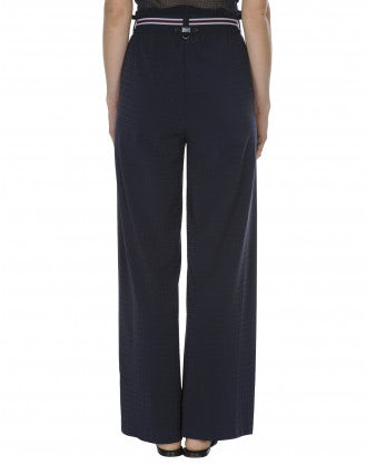 ATTITUDE: Wide, straight pant with frill top waist
