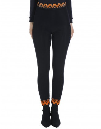 JEEPERS: Navy leggings with orange detail