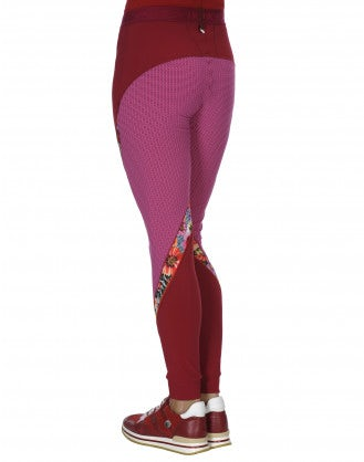 "VORTEX: Fuchsia, geometric and floral pattern ""athleisure"" leggings"