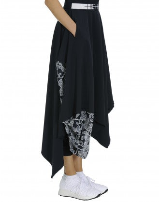 ALBERT: Handkerchief point skirt with floral panel