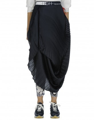 SIGNIFY: Pleated and draped navy satin skirt