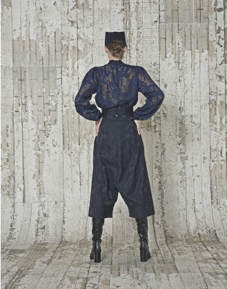 BADASS: Navy tech damask culottes