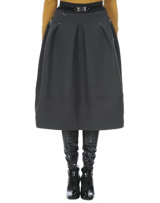 DUET: Grey cavalry tech twill full skirt
