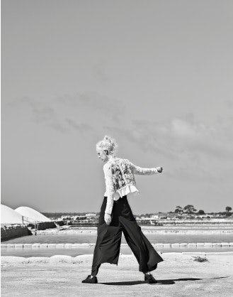 AUDITION: Pantaloni ampi blu navy con dettagli bianchi