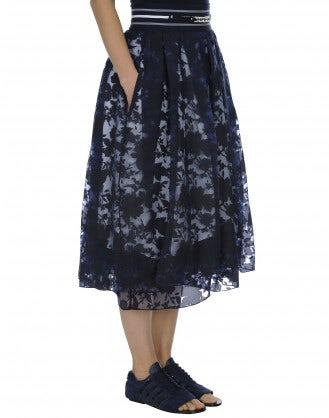 BLISSFUL: Gonna a tre strati in organza navy con ricami floreali