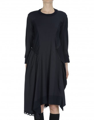 ALLEGORY: Rib neck pinstripe dress