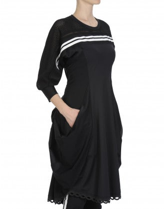 TRIPTYCH: Panelled jersey dress