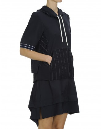 TANTRUM: Hoodie dress in plain and pinstripe jersey