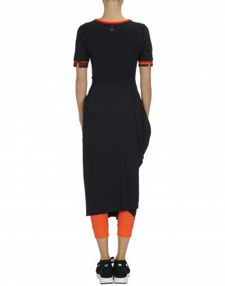 CHOREOGRAPH: Navy wrap dress with orange and red sports rib