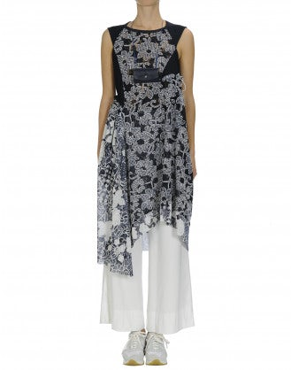 EMERGE: Embroidered lace and pinstripe dress