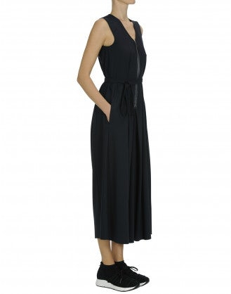 INVITE: Navy wide leg jumpsuit with zip front