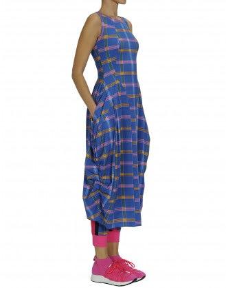 """AT LENGTH: Blue, pink and yellow check Sensitive® """"balloon"""" dress"""