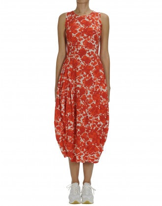 "AT LENGTH: Red and white floral Sensitive® ""balloon"" dress"