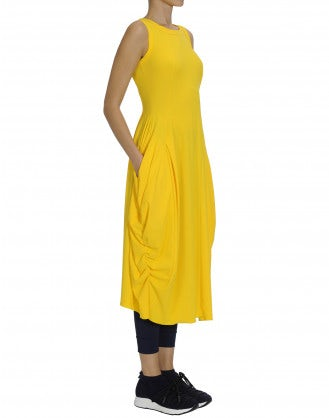 "AT LENGTH: ""Taxi"" yellow Sensitive® ""balloon"" dress"