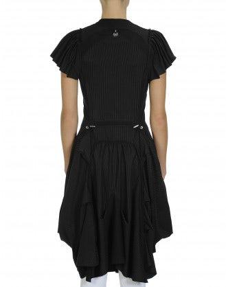 JESSY: Technical jersey black pinstripe dress