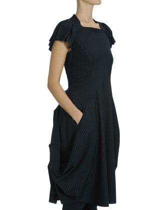 JESSY: Technical jersey navy pinstripe dress