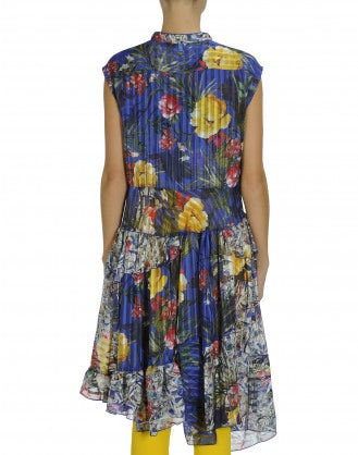 HOEDOWN: Floral sleeveless ruffle neck dress