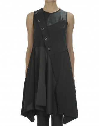 RUKUS: Black tech leather and satin patchwork dress