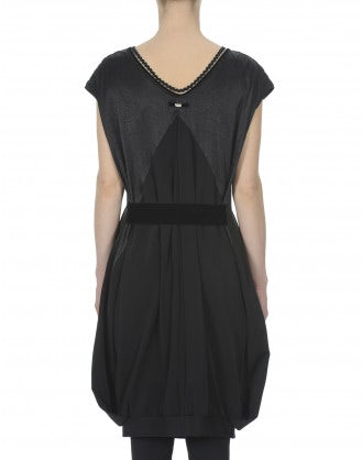 SEGUE: Black cap sleeve dress with cuff hem