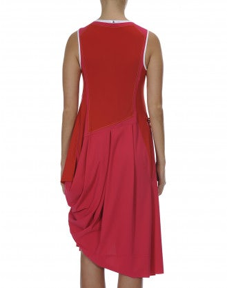CHARM: Asymmetric panel dress in fuchsia and red jersey