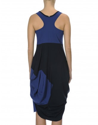 LOUCHE: Navy and royal blue knotted jersey dress