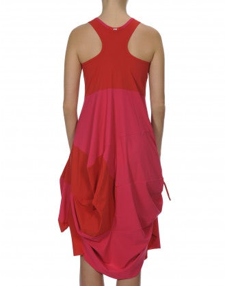 LOUCHE: Pink and crimson knotted jersey dress