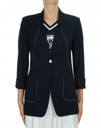 MOTIVE: Navy laser cut tech tailored jacket