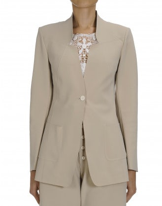MOTIVE: Beige laser cut tech tailored jacket