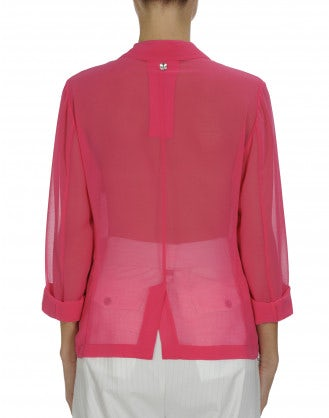 PRELUDE: Hot pink tech georgette blazer