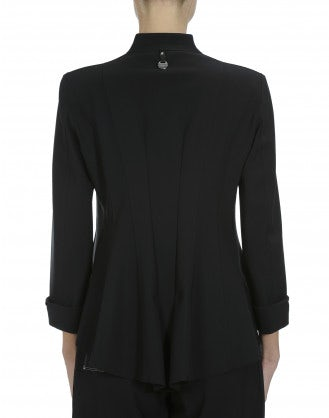 AD-LIB: Black single breasted laser cut jacket