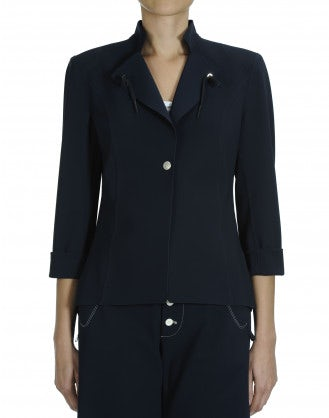 AD-LIB: Navy single breasted laser cut jacket