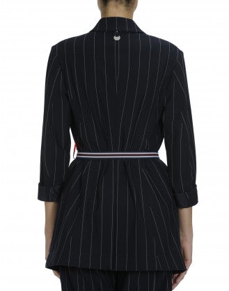 DEDICATE: Oversize pinstripe jacket