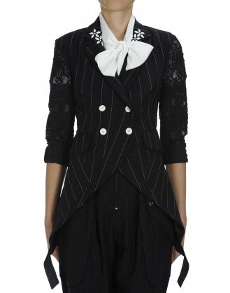 TALLY: Pinstripe and lace curved front jacket