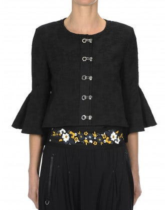 NOVEL: Flared hem and sleeve jacket with silver clip front