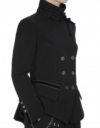 BAFFLE: Lace collar fitted jacket