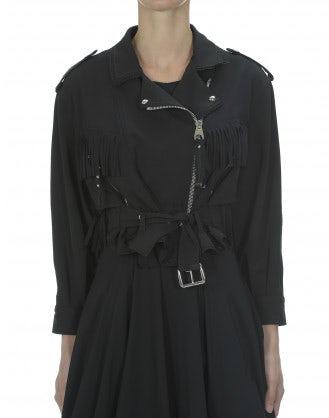 SPEEDWAY: Black fringe crop moto jacket