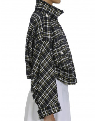 SURGE: Funnel collar jacket in check